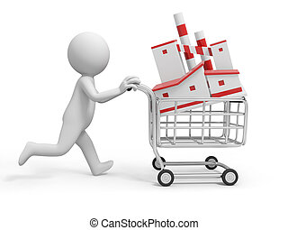 factory - A 3d person/ a factory model in the shopping cart