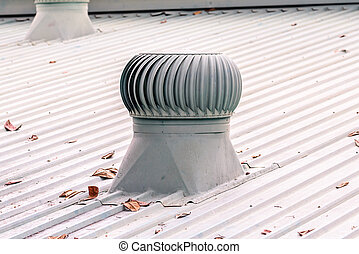 factory., système ventilation, toit
