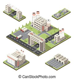 Factory Territory Isometric Composition