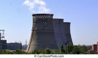Factory tubes chimney smoke. Environmental pollution. Nature...