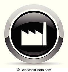 Factory vector steel icon. Chrome border round web button....