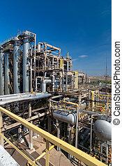 factory., verwerking, gas, aanzicht