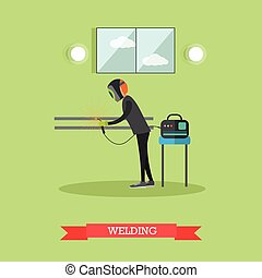 Factory welder vector illustration in flat style - Vector...