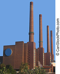 Factory with chimney - Factory with high chimneys and blue...