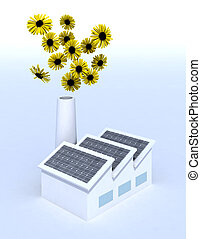 factory with solar panels and and flowers