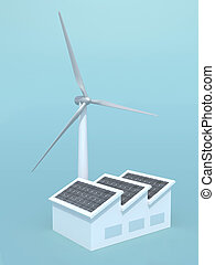 factory with solar panels and wind turbine instead of the chimne