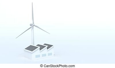 factory with solar panels and wind turbine