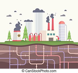 Factory with underground pipes - modern flat design style vector illustration