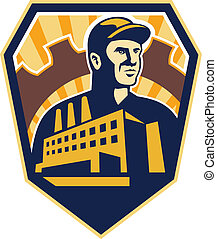 Factory Worker Building Cog Shield Retro - Illustration of a...