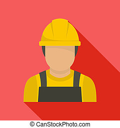 Factory worker icon, flat style