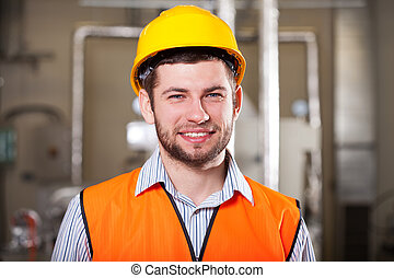 Factory worker in hardhat