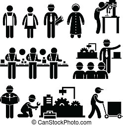 Factory Worker Manager Working - A set of pictograms...