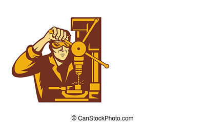 Factory Worker With Drill Press - 2d video footage animation...