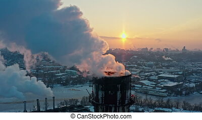 Factory smoke zone aerial view industrial pipes winter warm global ecology chimney climate weather sun toxic station tower building air