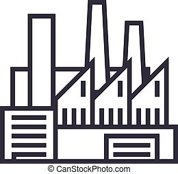factory,production,pipes with smoke vector line icon, sign, illustration on background, editable strokes