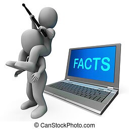 Facts Characters Laptop Shows Data Reports And Knowledge