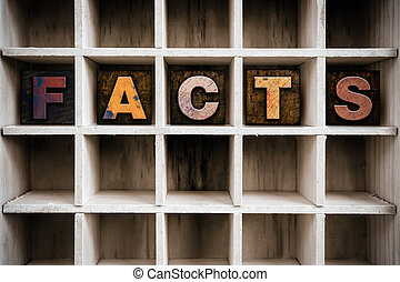 Facts Concept Wooden Letterpress Type in Draw