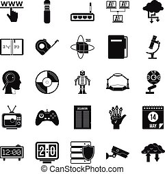 Facts icons set, simple style - Facts icons set. Simple set...