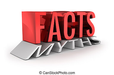 Facts instead of Myths 3d word concept over white