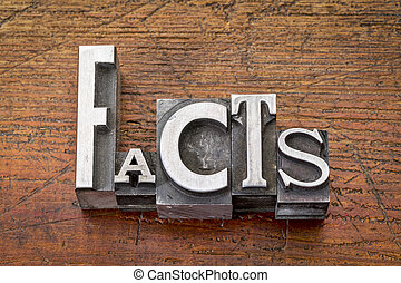 facts word in metal type