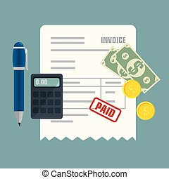 factura, aislado, icono, concepto, paga