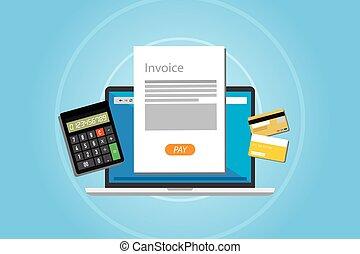 factura, paga, facturación, servicio, en línea