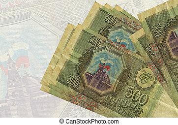 factures, billet banque., monnaie, fond, rubles, national, 500, russe, semi-transparent, mensonges, résumé, grand, présentation, pile