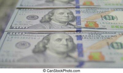 factures, billets banque, 100, dollar
