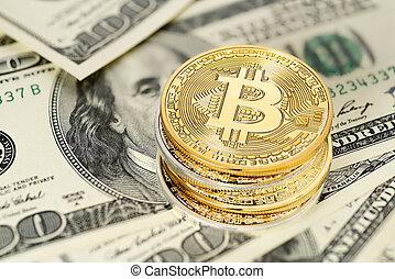 factures, dollar, bitcoin