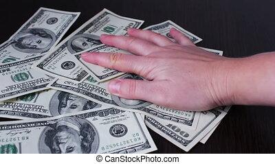 factures, dollar, rapidement, prendre, mains, cent