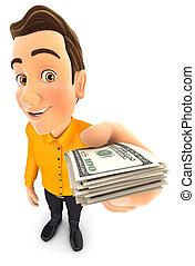 factures, dollar, tenue, pile, homme, 3d