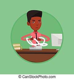 factures, invoices., fâché, homme affaires, déchirure, ou