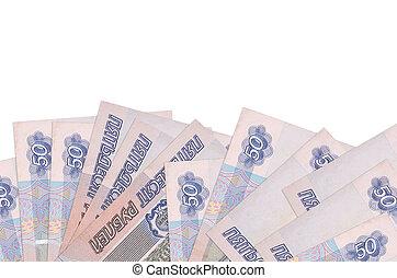 factures, isolé, fond, fond, rubles, écran, côté, 50, bannière, mensonges, copie, gabarit, blanc, russe, space.