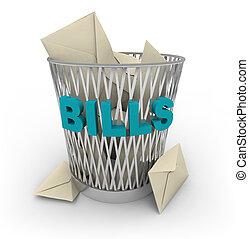 factures, poubelle