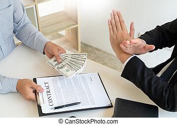 factures, refuser, accord, ou, argent, concept., corruption, pot-de-vin, formulaire, anti, dollar, prendre, homme affaires, corruption, contrat, rejeter