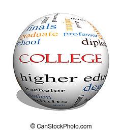 faculdade, 3d, esfera, palavra, nuvem, conceito