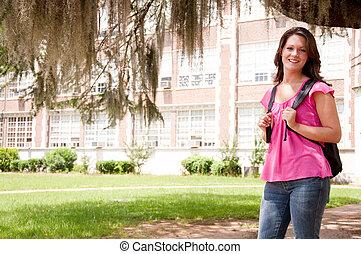 faculdade, aluno feminino