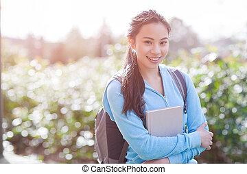 faculdade, asiático, estudante