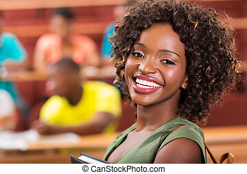 faculdade, bonito, estudante, africano