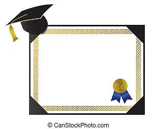 faculdade, diploma, com, boné, e, tassel