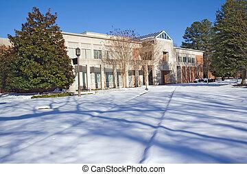 faculdade, inverno, biblioteca, campus