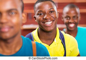faculdade, macho, amigos, estudante, africano
