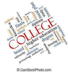 faculdade, palavra, nuvem, conceito, angled