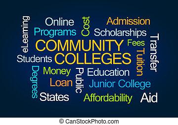 faculdades, palavra, comunidade, nuvem