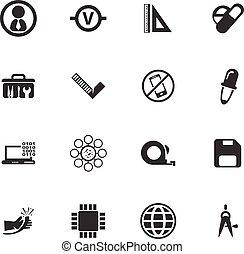 Faculty of mechanics icons set