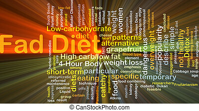 Fad diet background concept glowing - Background concept ...