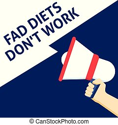 FAD DIETS DON'T WORK Announcement. Hand Holding Megaphone...