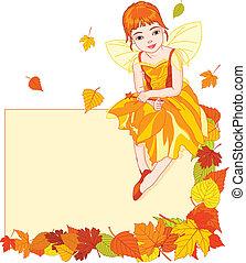 fada, cartão, outono, lugar