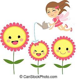 fada, flores, jardinagem