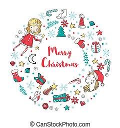 fada, inverno, elements., grinalda, tradicional, unicórnio, feriado, natal